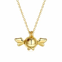 "Angle Wings Pendant Necklaces Women Double Fish Chocker Gold Color 18"" Chain Crystal Necklace For Men Jewelry"