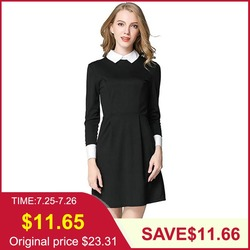 Tangada короткое платье трикотажное платье черное платье с белым воротником приталенное платье платье школьницы платье мини2019