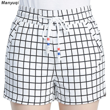 Black and white grid shorts womens cotton casual elastic waist loose thin shorts women wide leg short pants Summer(China)