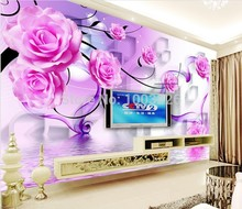 beibehang purple pink roses background 3d wallpaper mural Customize papel de parede photo wallpaper roll butterflies wall murals(China)