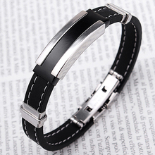 Excellent Men's Black Silver Stainless Steel Rubber Bracelet Bangles for boyfriend's Gift Birthday Gift 4ZE2