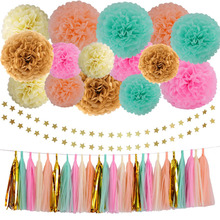 37pcs Gold Tissue Paper Pom Poms Flowers Balls Paper Tassel Garland Gold Glitter Five Star Garland Kit Wedding Party Decoration(China)