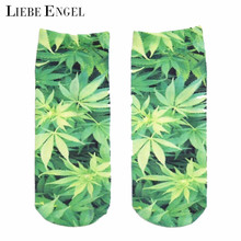 LIEBE ENGEL New Women Fashion Hemp Leaves 3D Printed Huf Low Socks Maple Leaf Funny Casual Short Ankle Sock Spring Autumn(China)