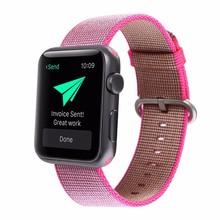 New Colors Luxury Brown Pink Blue Nylon Watch Band Strap with Connector For apple Watch Series1/2 Sports Watch 42/38mm Straps(China)