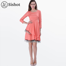 SisHot Vintage Spring Summer Dresses Burgundy Polka Dots A-Line Pink Patchwork Lace Scoop Knee-Length Blue Mid-Waist Retro Dress(China)