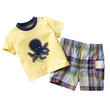 54Sets Wholesale Children Clothes Sets 2016 Brand New Boy outfits Cotton Top Quality Embroidery Logo Kids T-Shirts Grid Shorts