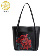 PMSIX Winter Cow Leather Shoulder Bags New Vintage Women Print Flowers High Quality Tote bags soft versatile Designer Handbags(China)