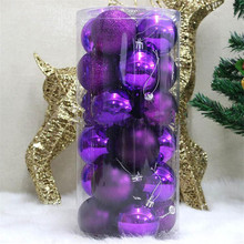 2017 24pcs/Barrel Christmas tree Ball Matte Purple mixed 4cm Balls Accessories Free Shipping High Quality DN205-4