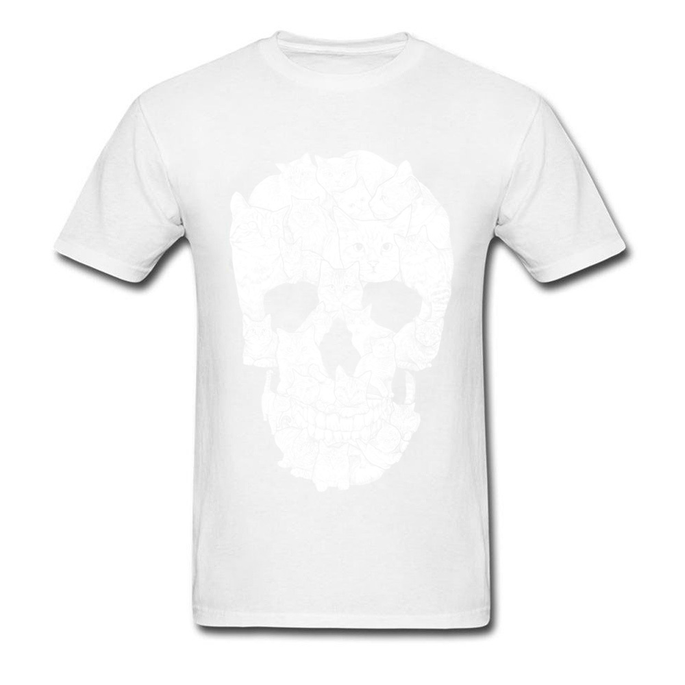 Sketchy Cat Skull Wholesale Short Sleeve Camisa T Shirt 100% Coon O-Neck Men T Shirt Casual Tee-Shirt Summer Autumn Sketchy Cat Skull white