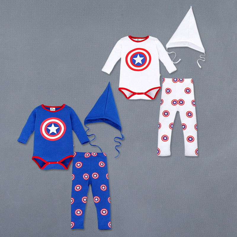 2016 spring autumn Baby Romper Jumpsuit Cotton long Sleeve Captain America Style Baby Triangle Hat + Romper+pants Clothing 3pcs<br><br>Aliexpress