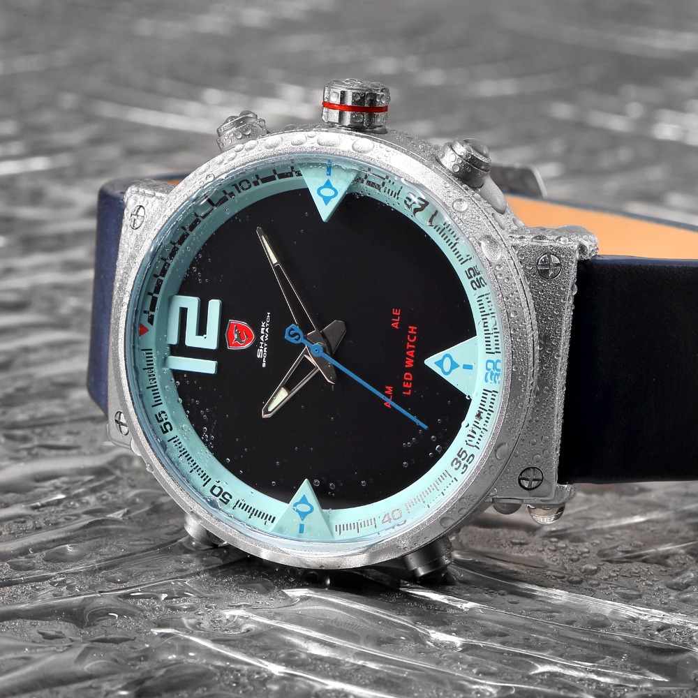 HTB1IwJMdlTH8KJjy0Fiq6ARsXXaX - Bluegray Carpet Shark Sport Watch - Blue SH547