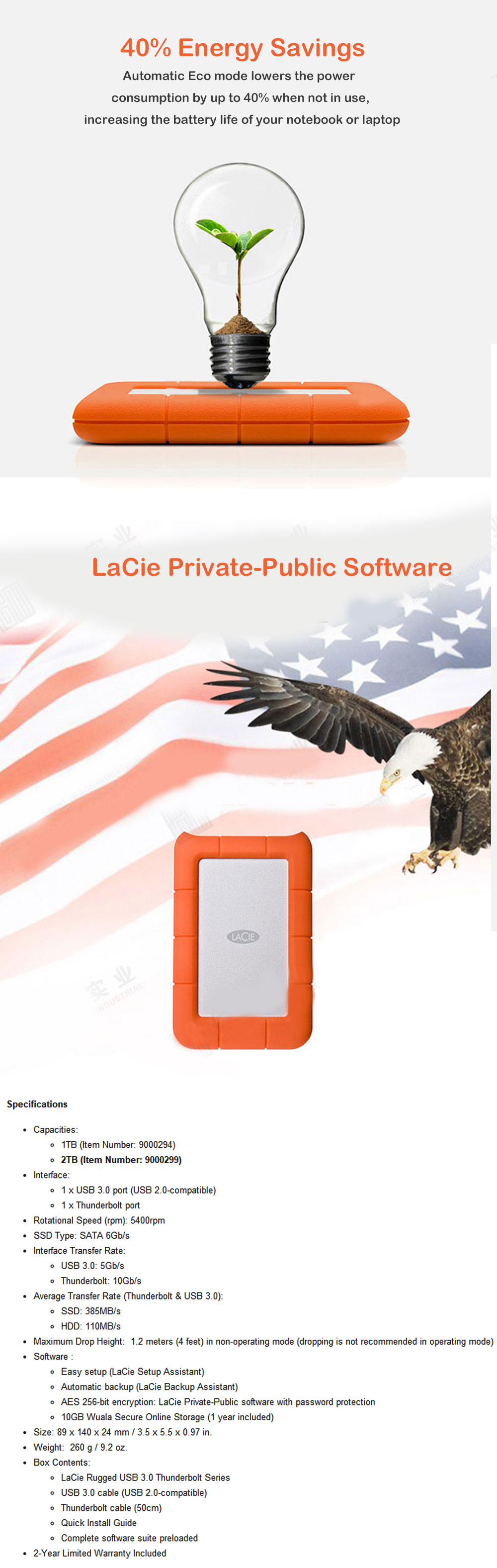 LaCie Rugged Series 2.5″ USB3.0  potable hard drive hd 1TB 301558 1tb