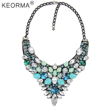 KEORMA Flowers Necklace Women Multicolour Crystal Inlaid Big Brand Pendant Black Gun Chain Exaggerated Statement Necklace NK854
