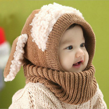 New Baby Boys Dog Siamese Cap Kids Winter Warm Knit Hat Crochet Hats For Girls Children's Bonnet 2017 Newborn Christmas Caps(China)