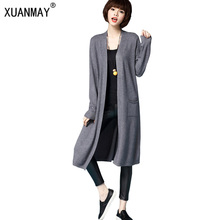 High Quality Long Cardigan Sweater Female Models Big Sweater Spring and Autumn 2017 Section of Cashmere Knit Cardigan Shawl Coat