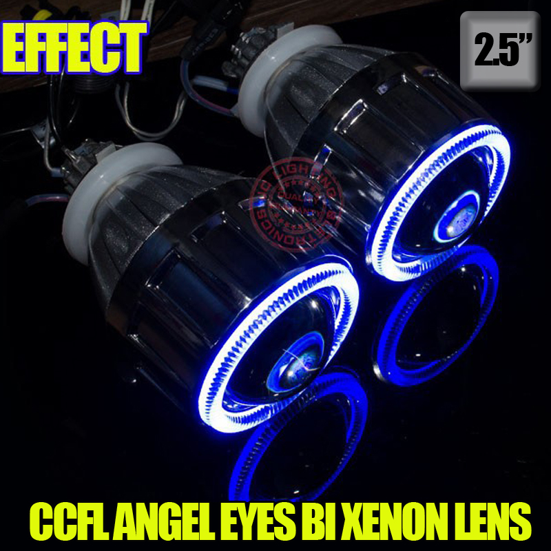 2.5 inch  H1 H7 9005 9006 Bi-Xenon projector lens for auto headlight with CCFL angel eyes Bule Yellow Red White Purple<br><br>Aliexpress