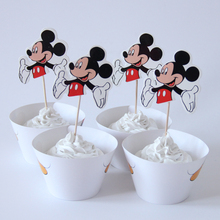 24pcs/lot Mickey Paper Cupcake Wrappers Toppers For Kids Party Birthday Decoration Cake Cups(12 wraps+12 topper)