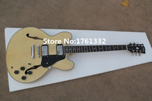 Flame maple natural wood color ES-335 semi-hollow double f holes JAZZ electric guitar with black pickguard,can be changed