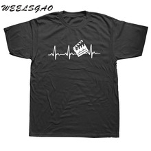 WEELSGAO New Summer Fashion Film Director T Shirt Men Short Sleeve Cotton Heartbeat T-shirt Tops Man Tshirt