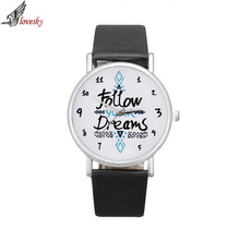 Lovesky 2016 Fashion Women Watch Follow Dreams Words Pattern PU Leather Quartz Analog Wrist Watches Wholesale & Freeshipping