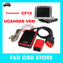 UCANDAS VDM WIFI Scanner+ High Quality Toughbook CF19 Car Diagnostic Laptop Same as Ds708 with touch & rotate screen DHL free