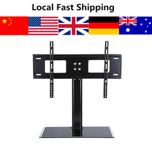 Oversea Local 37 - 55 inches Universal Black Glass TV Stand with Bracket for LED LCD