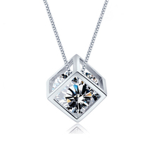 Square Pendant Necklaces Big Crystal Stereo Love Cube Jewelry Silver Plated Clavicle Chain Leisure Necklace For Women JQ620