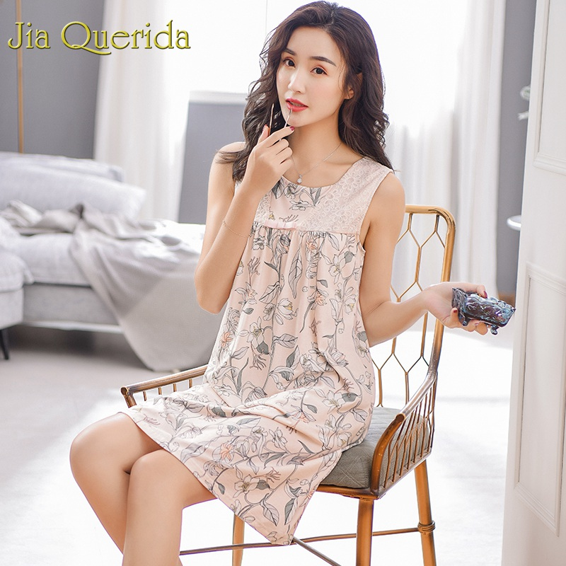 J&Q Women Lingerie Nightgown 2019 Summer Night Shorts Sleeveless 100% Cotton Home Dress Floral Night Wear Gown Sleeping Dressing