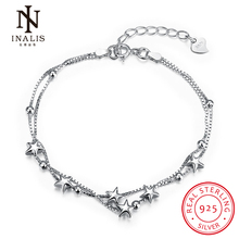 INALIS 925 Sterling Silver Star Chain Link Bracelet for Women Couple Cubic Zircon Crystal Jewelry Birthday Gift(China)
