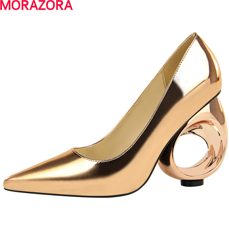 MORAZORA newest sexy fashion strap women pumps solid color summer shoes high heeled party wedding shoes size 34-39<br>