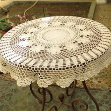 Handmade Crochet Tablecloth Round Table Cloth White Beige Crochet Tablecloth Cotton Table Cover Wedding Party