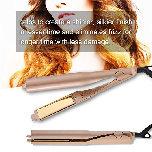 Hot sell Gold Plated Titanium Plates Hair Straightener Irons 2 In 1 Fast Hair Straightening Curlers Curling Iron<br>