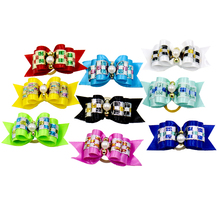 20/50/100pcs /Cute Dog Hair Bows Pearls FlowersTopknot Pet Dog Grooming bowkont Mix Colors Pet Hair Bows Topknot Rubber Bands(China)