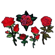1pc Iron-on Sew-on Patches Red Rose Flower Embroidery Motif Applique Women DIY Clothes Sticker Wedding Patch Ornament Dress