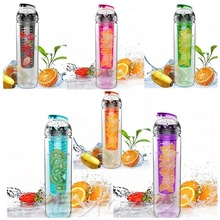 800ML Red cap Fruit Infusing Infuser Water Bottle with box Sports Health Lemon Juice Make Bottle