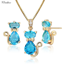 Cute Kitten Kitty Cat Gato Stud Earrings Pendant Necklace Sky Blue Crystal Gold Color Jewelry Sets For Women Children Kids Girls(China)