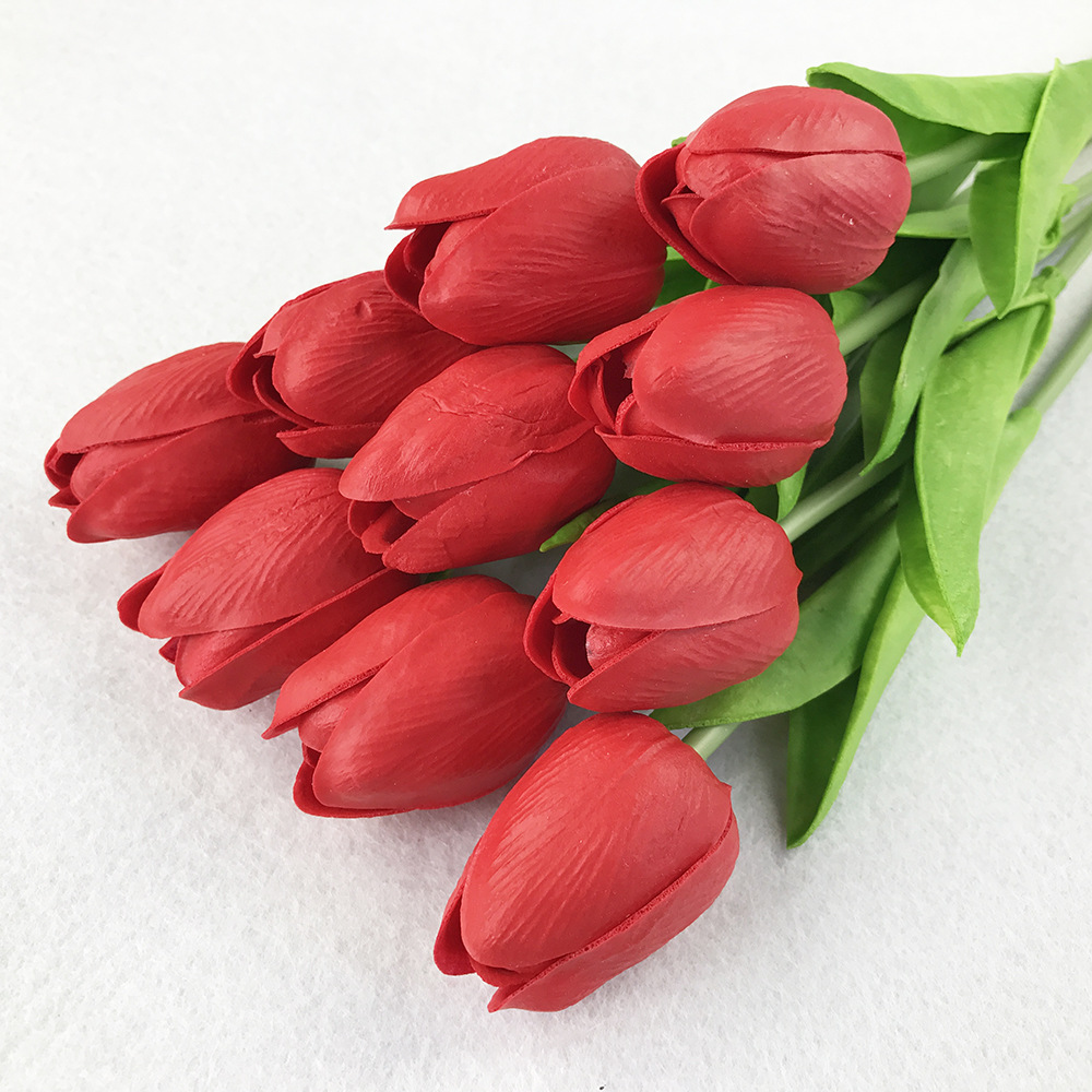 10PcsBag PU Holland Mini Tulip Artificial Flower Real Touch Tulip for Wedding,Home,Hotel,Party Decoration Valentine's Day Gift (16)