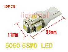 10pcs T10 Car Side 5-SMD 5050 Xenon LED Light bulbs 12v 192 168 194 W5W 2825 158 clearance lamp 4 Colors(China)