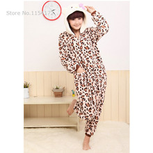 Leopard hello kitty Anime adult onesies Pyjamas Cartoon Animal Cosplay Costume Pajamas adult Onesies Sleepwear Halloween(China)