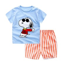 2017 Cotton Short Sleeve Baby Clothing Set Summer Cheap Newborn Toddler Baby Boys Clothes Set Dog Adorable Infant Sets