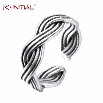 Kinitial Factory Price Fashion 925 Silver Adjustable Finger Rings Jewelry Double Line Twist Rings for Women Fine Party Gift