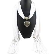 Hot Women Ladies Jewellery Heart Gemstone Necklace Scarf Shawl Wrap Stole Charm Pendant Accessories