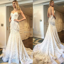 2017 Vestido De Noiva Embroidered Lace On Net Beading Wedding Dresses Sweetheart Mermaid Backless Spaghetti Straps Bridal Gown