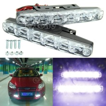 L1092x Xenon White 6 LED Super Bright DRL Daytime Running Driving Lights Fog Lamps(China)