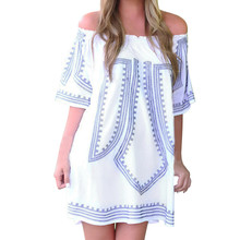 Women Summer Boho Evening Party Off Shoulder Mini Dress Casual Beach Dress Sundress Classic White Loose Dress(China)