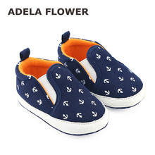 2016 Autumn 0-1Y Toddler Infant Baby Boy Shoes Casual Sneaker Navy Blue Slip-On Soft Sole Crib Shoes First Walkers Sapato Menino(China)