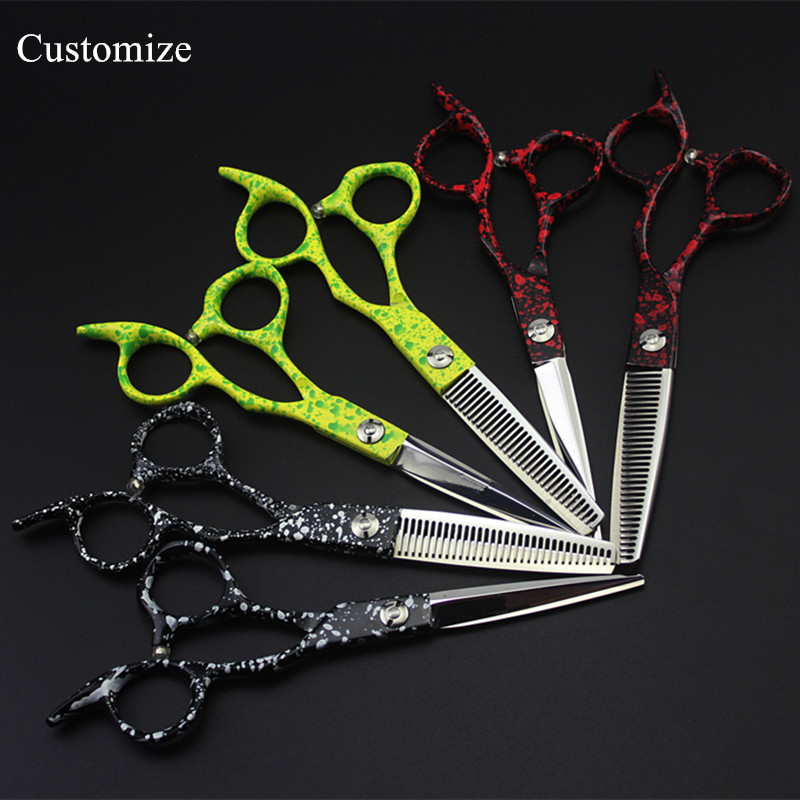 Customize logo New professional Japan 440c 6 inch hair salon scissors cutting barber makas Thinning shears hairdressing scissors<br>