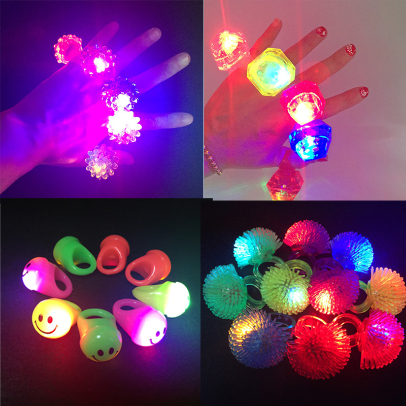 2017 10pcs Hot Sale Free Shipping New Led Light Flashing Finger Ring Elastic Rubber Ring, Event Party Supplies Glow Toys(China)