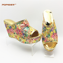 Women Wedge Platform PU leather with shining bling increasing height fashion design Italian Shoe Without Matching Bag For Party(China)