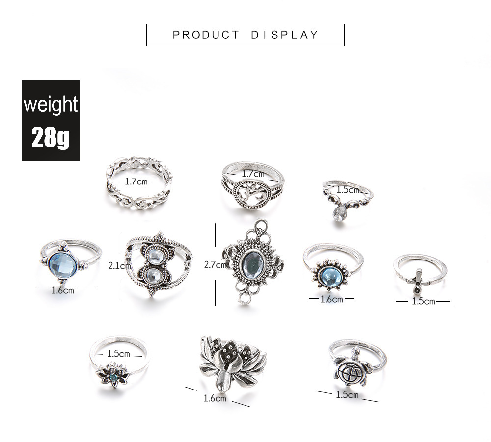 Bague Femme Vintage Rings for Women Boho Geometric Flower Crystal Knuckle Ring Set Bohemian Midi Finger Jewelry Silver Color 29